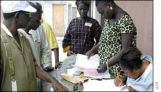 Voters being registered