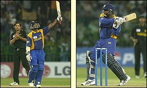 Sanath Jayasuriya and Aravinda de Silva make short work of the Pakistan attack