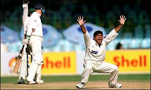 Mushtaq takes a wicket against England