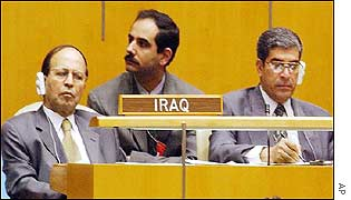 Iraqi delegation at United Nations listen to President Bush