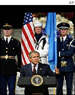 President Bush addressing the United State Reception