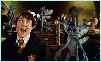 The pixies released by Gilderoy Lockhart cause mayhem in this scene
