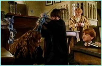 Harry comes to Hermione's rescue as she's mobbed by the little pests