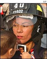 Woman and child at Ground Zero ceremony