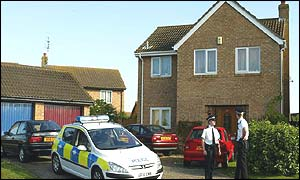 Police outside Detective Constable Brian Stevens' house