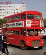 Bus in Amman, Jordan, being used in an anti-Iraq bombing campaign