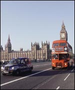 Bus, taxi and Big Ben