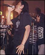 Lay Phyu , lead singer with Iron Cross