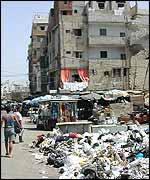 Rubbish piles up along Hamadiya market beside Shatila camp