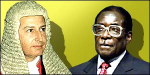 Zimbabwe's chief justice Anthony Gubbay and President Robert Mugabe