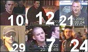 Suspects from the Millwall riots - numbered video shots were issued by police after the violence.