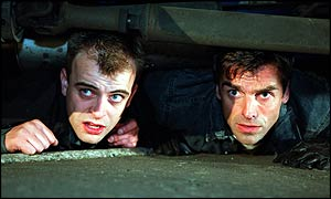 Steve McDonald (Simon Gregson) with Joe Carter (Jonathan Wrather) in Coronation Street