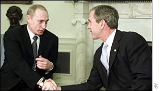 Russian President Vladimir Putin (left) and US President George W Bush