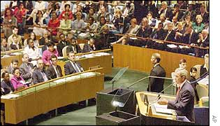 President Bush delivering his speech to the UN General Assembly