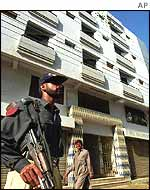 Guard at flats in Karachi