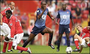 Patrick Vieira stretches his weary legs against Charlton