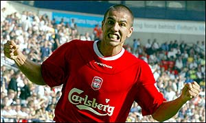 Milan Baros celebrates scoring his first goal for Liverpool