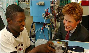 Harry with dialysis patient Fred Ayisi, 17, at Great Ormond Street