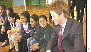 Harry with pupils at Osmani school