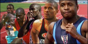 The evolution of the record (from left): Carl Lewis, the controversial Ben Johnson, Donovan Bailey, Maurice Greene, Tim Montgomery