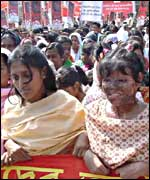 Women at a rally protesting against acid attacks on women