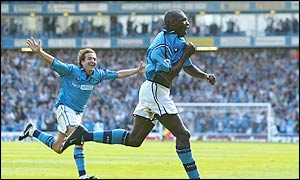 Man City striker Shaun Goater celebrates his equalising goal