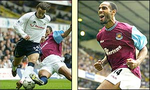 Simon Davies is on target for Spurs while Freddie Kanoute celebrates his equaliser