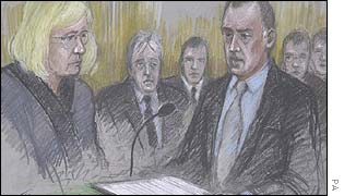 Artist's drawing of inquest into Stuart Lubbock's death