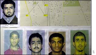 Pictures of the five original suspects and a map of their neighbourhood