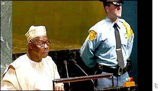 Nigerian president Olusegun Obasanjo addressing the UN
