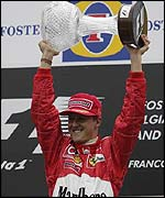 Michael Schumacher celebrates another drivers' title