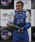 Dario Franchitti is delighted after winning the Rockingham 500