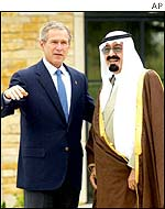 US President George W Bush (left) and Saudi Crown Prince Abdullah