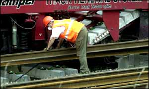 Rail worker laying track