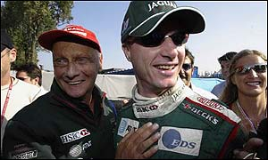 Jaguar boss Nikki Lauda (left) and Eddie Irvine
