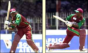 Brian Lara in action against Kenya in the ICC Champions Trophy