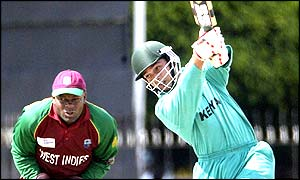 Brijal Patel in action for Kenya against West Indies
