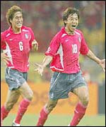 Celebrations as South Korea scores a goal in the 2002 World Cup