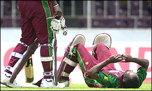 Brian Lara rests during his innings