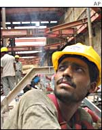 A worker on the Delhi metro