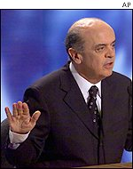 Jose Serra during a recent TV debate