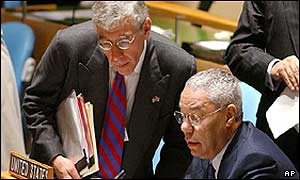 UK Foreign Secretary Jack Straw (left) and US Secretary of State Colin Powell