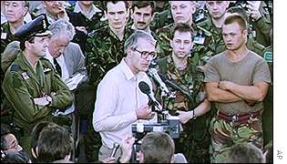 John Major addresses troops in Saudi Arabia during the Gulf War