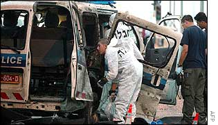 Police van after suicide attack