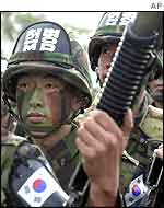 South Korean soldiers prepare to enter the DMZ