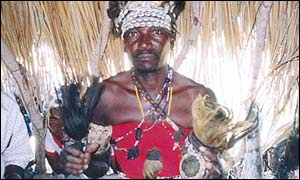 A witch doctor in Mozambique