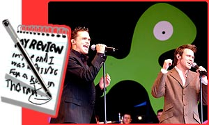 Pop Idol winner Will Young and fellow contestant Gareth Gates perform together at CBBC Prom in the Park 2002
