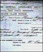 Thomas Higgins' life Insurance certificate