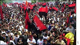 Sandinista supporters outside National Assembly