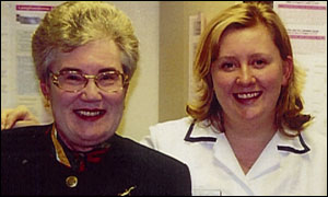 Carys Jones and Macmillan lymphoedema nurse Melanie Lewis